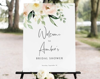 Bridal Shower Welcome Sign Template, Printable Sign, Templett Instant Download, Try Before Purchase, Pink Floral Greenery Ivory