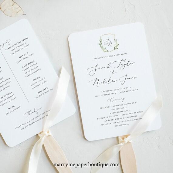 Wedding Program Fan Template, Greenery Wedding Crest, Ceremony Fan Program, Printable, Calligraphy, Editable, Templett INSTANT Download