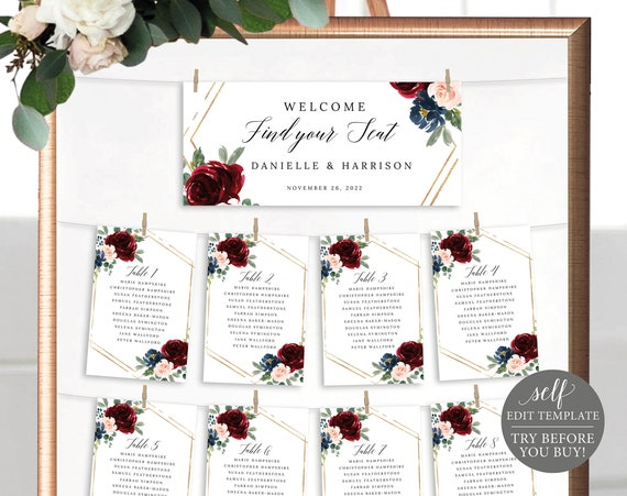 Wedding Seating Chart Cards Template, Burgundy Navy, Templett, Editable Printable Instant Download, TRY BEFORE You Buy