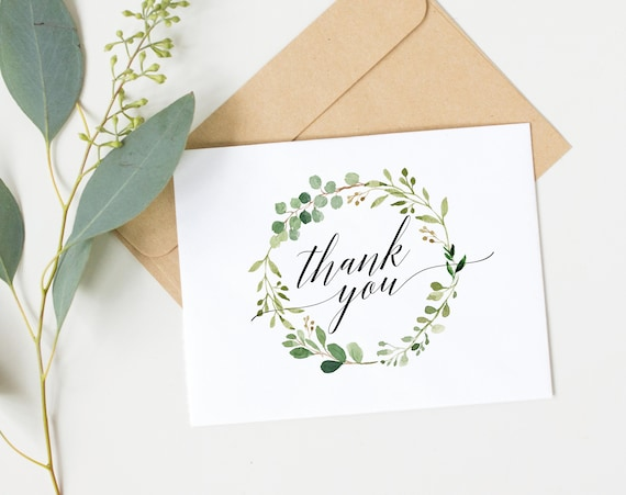 Greenery Wedding Thank You Card, Printable Thank You Card , Folded Thank You Card Template, DIY Thank You Card, PDF Instant Download, MM07-1