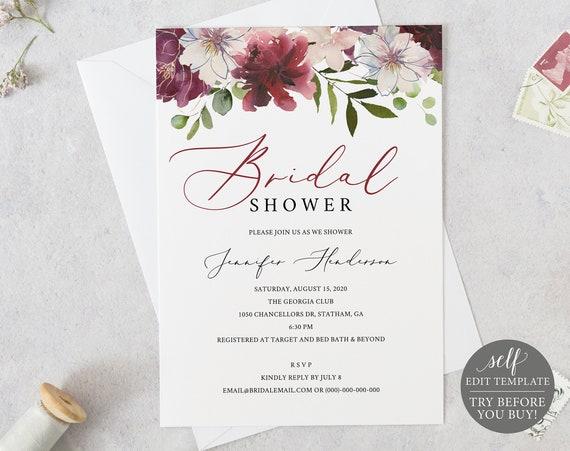 Bridal Shower Invitation Printable, 100% Editable Bridal Shower Template, Instant Download, Couples Shower, Floral, Burgundy Invitation