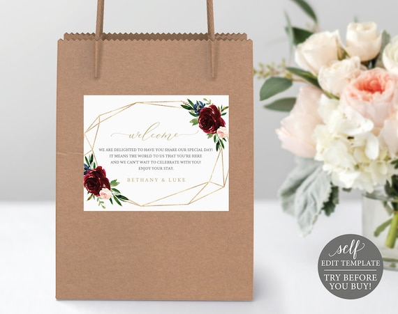 Guest Bag Label Template, Burgundy Geometric, Editable & Printable Instant Download, Demo Available