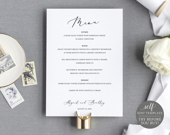 Wedding Menu Template 5x7, TRY BEFORE You BUY, 100% Editable Instant Download, Elegant Calligraphy