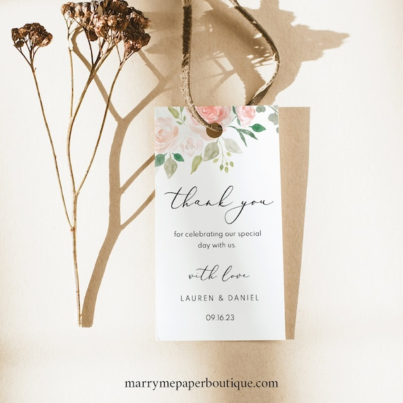 Wedding Favor Tag Template, TRY BEFORE You BUY, Wedding Gift Tag Printable, Templett Instant Download, Pink & Blush Floral