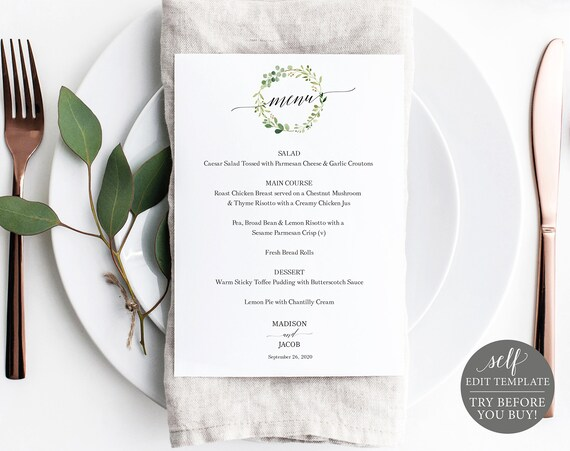 Wedding Menu Template 5x7, Greenery, TRY BEFORE You BUY, Fully Editable Instant Download
