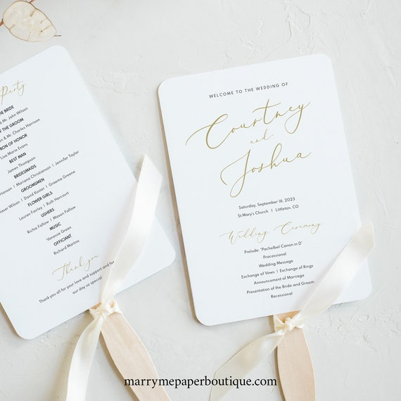 Wedding Program Fan Template, Elegant Gold Script, Printable Fan Program,  Editable, Templett, INSTANT Download