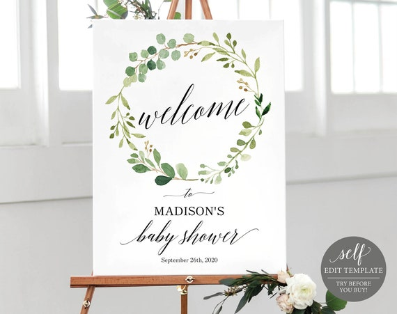 Greenery Welcome Baby Shower Sign Template, Printable Baby Shower Sign Template, Editable Baby Shower Sign, Instant Download