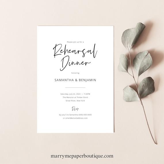 Rehearsal Dinner Invitation Template, Modern Calligraphy, Minimalist Wedding Rehearsal Dinner Invite, Printable, Templett INSTANT Download
