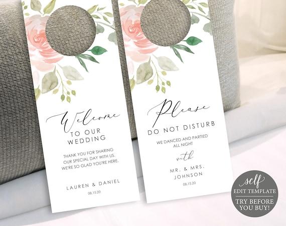 Floral Wedding Door Hanger Template, 100% Editable, Please Do Not Disturb Door Hanger Printable, Instant Download, TRY BEFORE You BUY