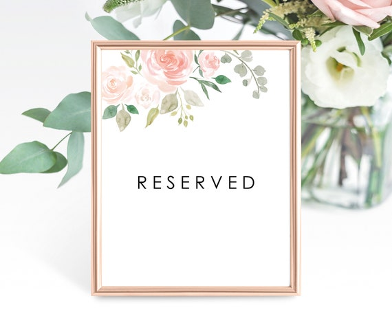 Floral Wedding Reserved Table Sign Template, Printable Reserved Sign Template, Wedding Table Reserved Sign, PDF Instant Download, MM08-3