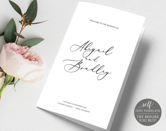 Wedding Program Template, 100% Editable Instant Download, TRY BEFORE You BUY, Elegant Calligraphy