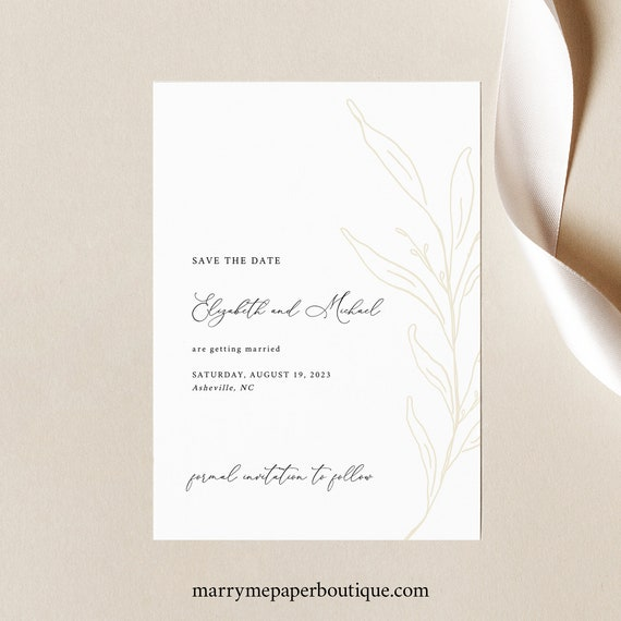 Save the Date Template, Botanic Calligraphy, Save Our Date Card, Printable, Elegant Gold Flower, Editable, Templett INSTANT Download