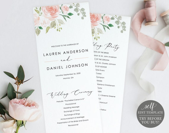 Wedding Program Template, Blush Pink Floral, Fully Editable Instant Download, TRY BEFORE You BUY