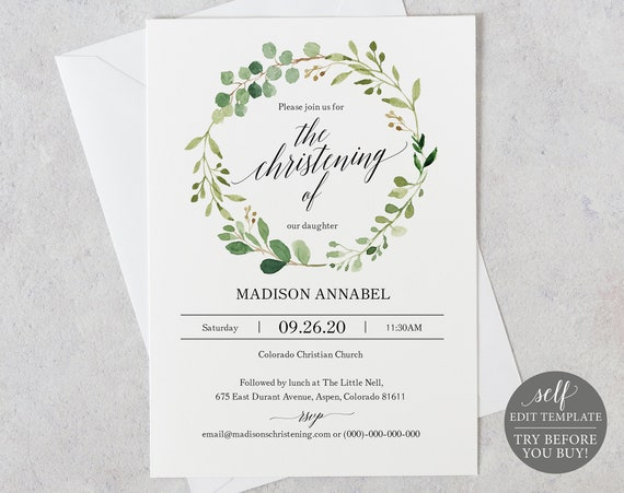 Christening Invitation Template, Greenery, TRY BEFORE You BUY, Editable Instant Download