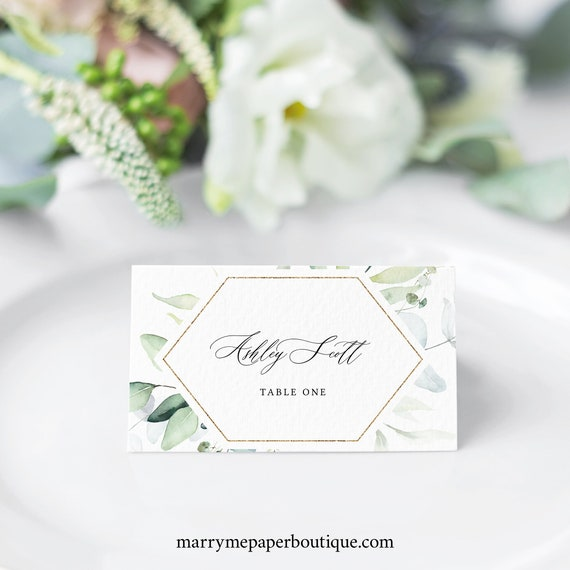 Wedding Place Card Template, Classic Greenery, Place Card Printable, Tent & Flat, Templett INSTANT Download, Editable