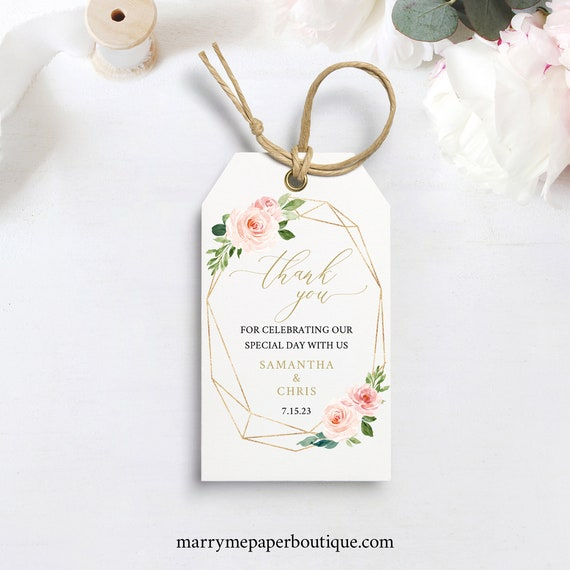 Thank You Tag Template, TRY BEFORE You BUY, Instant Download, Wedding Favor Tag Printable, Blush Gold Geometric, 100% Editable