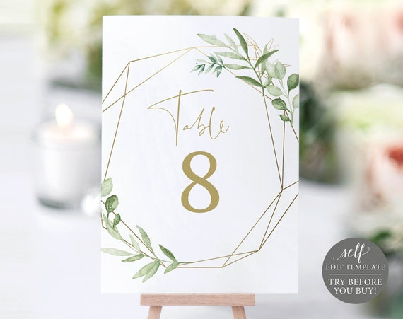 Table Number Template, Greenery & Gold, Editable Printable Instant Download, Demo Available, Templett