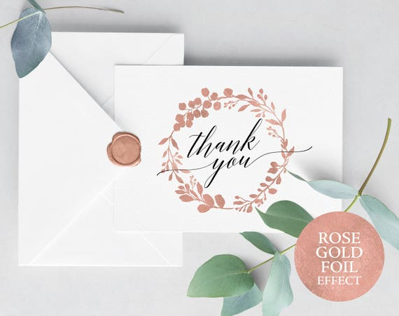 Rose Gold Wedding Thank You Card Template, Editable Thank You Card, Folded Thank You, Printable Thank You Card, PDF Instant Download, MM07-7