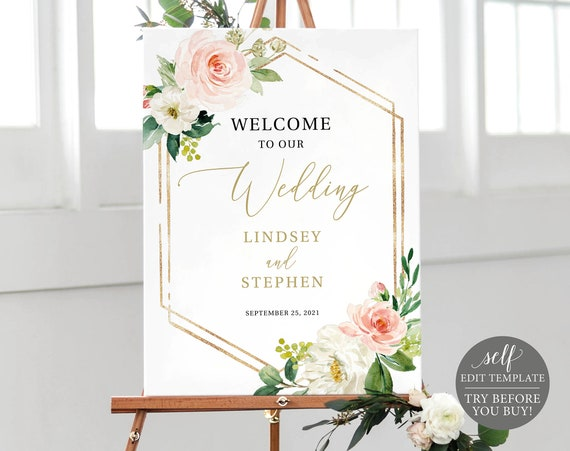 Wedding Welcome Sign Template, TRY BEFORE You BUY, Pink Floral Hexagonal, Editable Instant Download