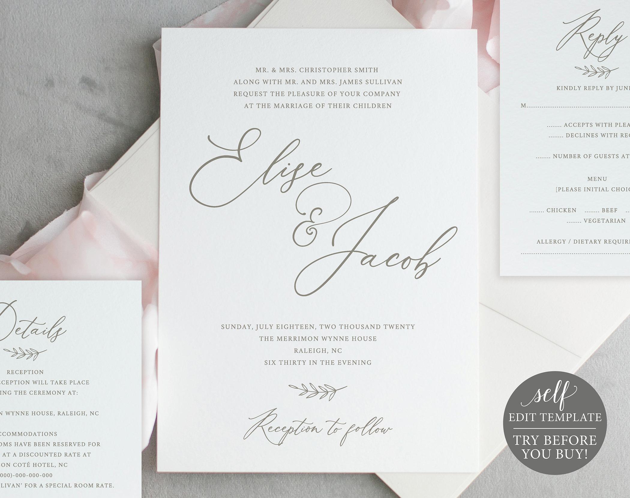 wedding invitation template set  try before you buy  invite  rsvp  u0026 details card printables