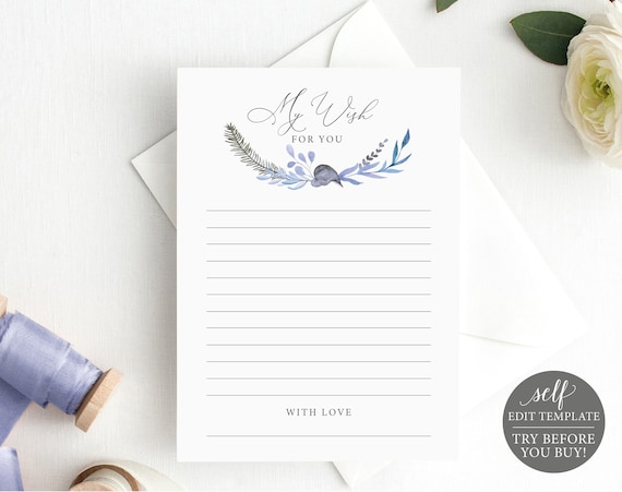 Wishes Card Template, Fully Editable Instant Download, TRY BEFORE You BUY, Lavender Blue