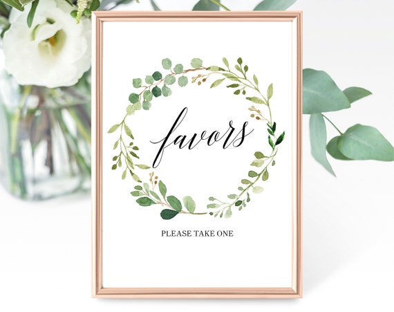 Greenery Wedding Favor Sign Template, Printable Favor Sign, Favor Sign, Favors Sign, Garden Wedding, PDF Instant Download, MM07-1