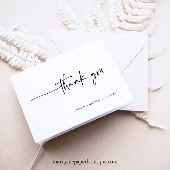 Thank You Card Template, Folding, Modern Contemporary, Clean Simple Thank You Card, Printable, Folded, Templett INSTANT Download, Editable