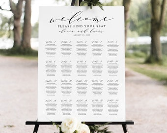 Wedding Seating Plan Sign Template, TRY BEFORE You BUY, Wedding Seating Sign Poster Printable,  Editable Instant Download