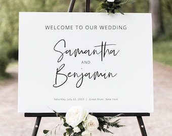 Minimalist Wedding Welcome Sign Template, Modern Calligraphy Wedding Sign, Printable, Fully Editable, Templett INSTANT Download