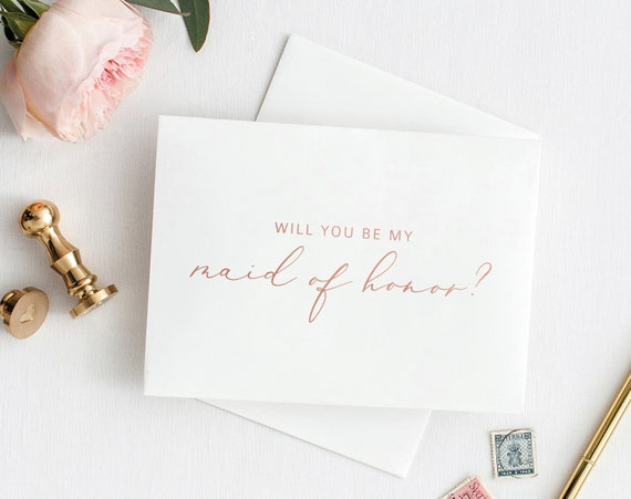 Will You Be My Maid of Honor Card, Printable Maid of Honor Template, Card to Maid of Honor Template, Rose Gold, PDF Instant Download MM08-2