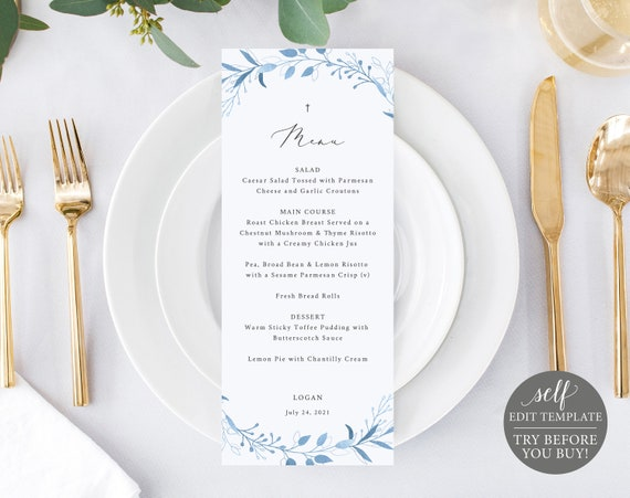 Menu Template, Blue Foliage, Fully Editable Instant Download, TRY BEFORE You BUY
