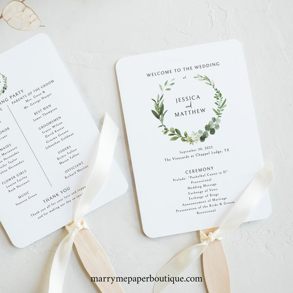 Wedding Program Fan Template, Templett Instant Download, Try Before Purchase, Printable, Elegant Greenery
