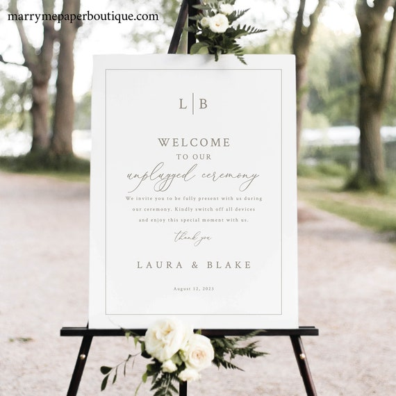 Unplugged Ceremony Sign Template, Monogram & Border, Elegant Unplugged Wedding Sign, Printable, Fully Editable, Templett INSTANT Download