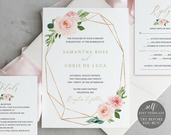 Wedding Invitation Set Template, Fully Editable, Instant Download, TRY BEFORE You BUY, Blush Floral