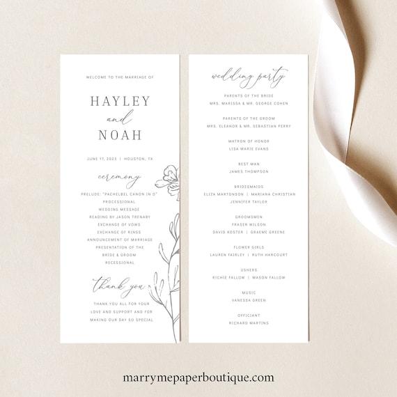 Wedding Program Template, Elegant Botanical, Wedding Ceremony Program, Printable, Tall Program, Editable, Templett INSTANT Download