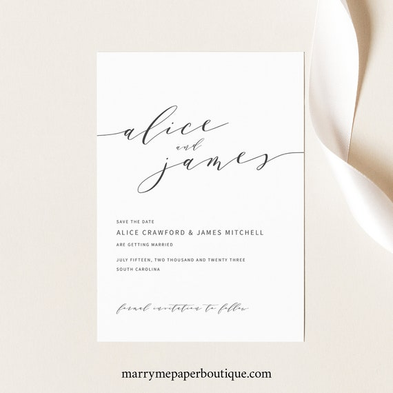 Elegant Save the Date Template, Modern Save Our Date Card Printable, Templett Editable, Instant Download