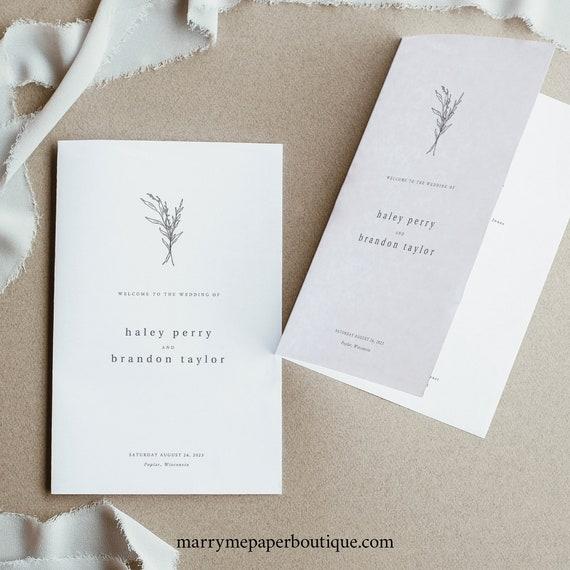 Wedding Program Template, Modern Rustic, Templett Instant Download, Editable Folded Program Printable, Try Before Purchase