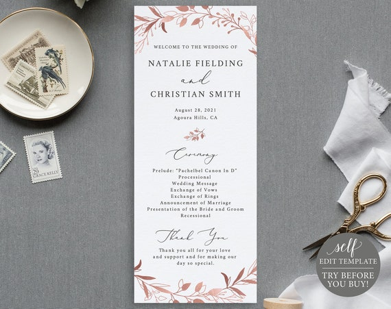 Wedding Program Template, TRY BEFORE You BUY, Self Edit Instant Download, Rose Gold