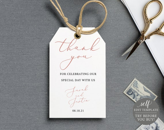 Favor Tag Template, TRY BEFORE You BUY, Rose Gold Script, Editable Instant Download