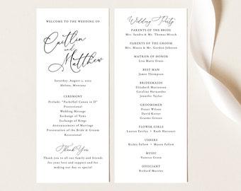 Calligraphy Wedding Program Template, Elegant Wedding Program Printable, Fully Editable, Templett INSTANT Download