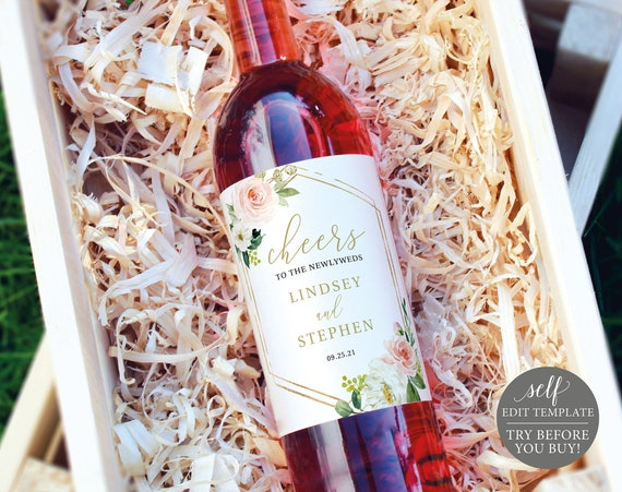 Wine Bottle Label Template, Blush Floral Hexagonal, Editable Instant Download, TRY BEFORE You BUY