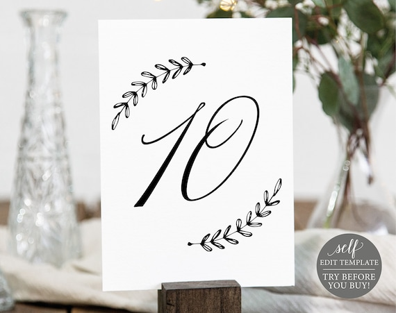 Rustic Table Number Template, TRY BEFORE You BUY, Editable Instant Download
