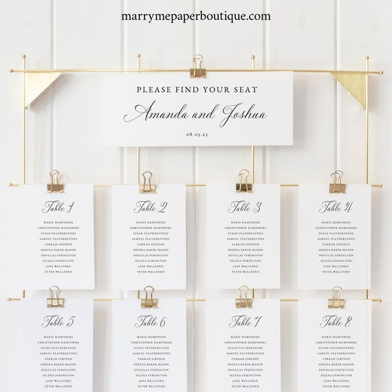 Wedding Seating Chart Template, Calligraphy, Traditional Wedding, Seating Chart Cards, Printable, Editable, Templett INSTANT Download