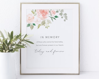 In Memory Sign Template, Non-Editable Instant Download, Blush Floral