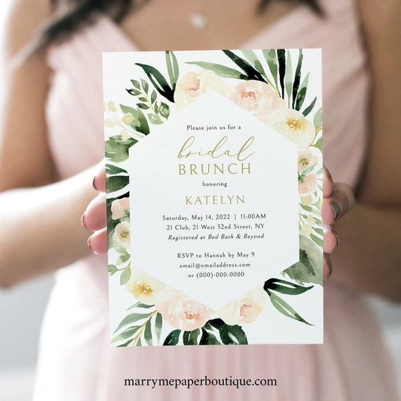 Bridal Brunch Invitation Template, Blush Ivory Greenery, Editable & Printable, Try Before Purchase, Templett Instant Download