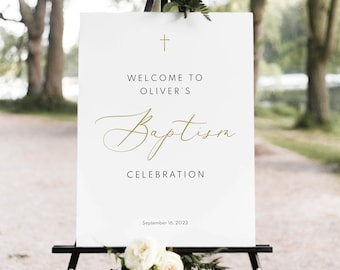 Welcome to the Baptism Sign Template, TRY BEFORE You BUY, Baptism Welcome Sign Printable,  Editable, Calligraphy, Instant Download