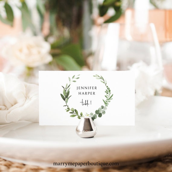 Wedding Place Card Template, Elegant Greenery, Editable Seating Card, Printable, Templett Instant Download