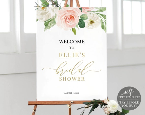 Bridal Shower Welcome Sign, TRY BEFORE You BUY, Editable Template, Blush Floral Instant Download