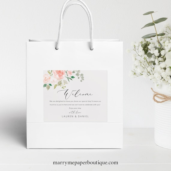 Floral Welcome Bag Label,  Editable, TRY BEFORE You BUY, Wedding Box Label Printable, Wedding Gift Bag Label, Instant Download