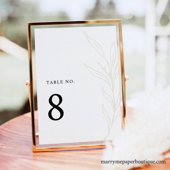 Table Number Template, Botanic Calligraphy, Elegant Table Number Sign, Printable, Editable, Gold Leaf, Templett INSTANT Download